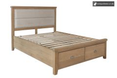 Smoked Oak Double 4ft 6in Fabric Headboard With Drawer Footboard