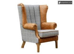Chair Collection Fluted Wing Chair - Grey and Tan