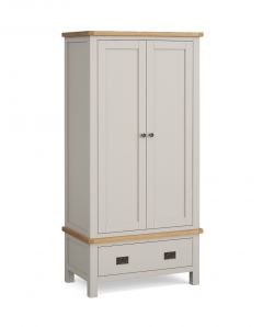 Cannes Gents Wardrobe Two Tone, Soft Grey and Natural Oak Soft grey hand painted finished