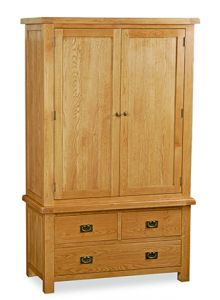 London Oak 3 Drawer Gents Wardrobe Natural Rustic Oak Hard waxed finished