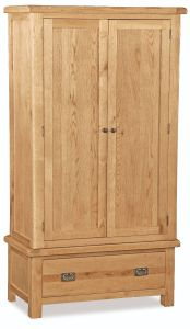 London Oak Double Gents Wardrobe Natural Rustic Oak Hard waxed finished