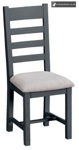 Bucks Charcoal Ladder Back Chair Fabric - Millstone Grey and Lime washed Oak