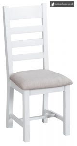 Bucks White Ladder Back Chair Fabric - Old white and Lime washed Oak