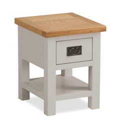 Cannes Lamp Table Two Tone, Soft Grey and Natural Oak Soft grey hand painted finished