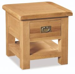 London Oak Lamp Table With Drawer Natural Rustic Oak Hard waxed finished