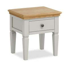 Sicily Lamp Table With Drawer Two Tone, Soft Grey and Natural Oak Hand painted soft grey finished