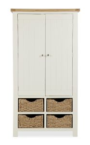 Florence Larder Unit With Baskets Two Tone, Soft Cream and Natural Oak Soft Cream hand painted finished