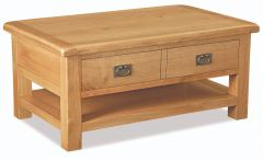 London Oak Large Coffee Table + Drawer And Shelf Natural Rustic Oak Hard waxed finished