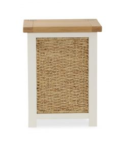 Florence Laundry Basket Two Tone, Soft Cream and Natural Oak Soft Cream hand painted finished