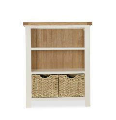 Florence Low Bookcase Two Tone, Soft Cream and Natural Oak Soft Cream hand painted finished