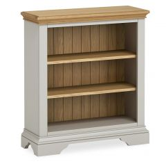Sicily Low Bookcase Two Tone, Soft Grey and Natural Oak Hand painted soft grey finished