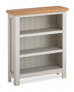 Cannes Low Bookcase Two Tone, Soft Grey and Natural Oak Soft grey hand painted finished