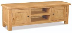London Oak Extra Large Media Stand Natural Rustic Oak Hard waxed finished
