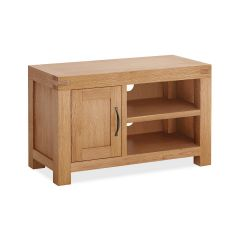 Roma Small Media Stand Natural Rustic Oak Hard waxed finished