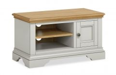 Sicily Small Media Stand Two Tone, Soft Grey and Natural Oak Hand painted soft grey finished