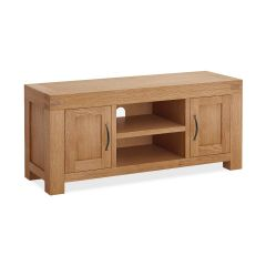 Roma Standard Media Stand Natural Rustic Oak Hard waxed finished