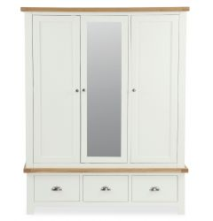 Florence Mirrored Triple Wardrobe Two Tone, Soft Cream and Natural Oak Soft Cream hand painted finished