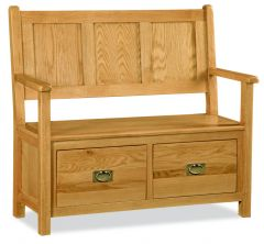 London Oak Monks Bench Natural Rustic Oak Hard waxed finished