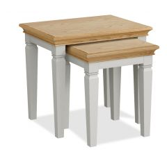 Sicily Nest Of Tables Two Tone, Soft Grey and Natural Oak Hand painted soft grey finished