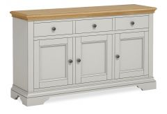 Sicily Large Sideboard Two Tone, Soft Grey and Natural Oak Hand painted soft grey finished