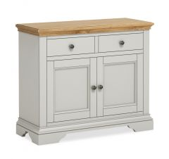 Sicily Small Sideboard Two Tone, Soft Grey and Natural Oak Hand painted soft grey finished