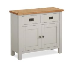Cannes Small Sideboard Two Tone, Soft Grey and Natural Oak Soft grey hand painted finished