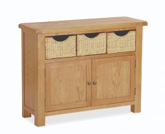 London Oak Sideboard With Baskets Natural Rustic Oak Hard waxed finished