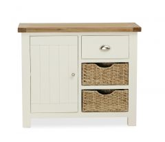 Florence Small Sideboard With Baskets Two Tone, Soft Cream and Natural Oak Soft Cream hand painted finished