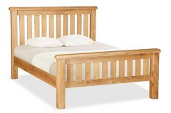London Oak Double 4ft 6in Slatted Bed Natural Rustic Oak Hard waxed finished