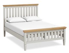 Sicily Double 4ft 6in Slatted Bed Two Tone, Soft Grey and Natural Oak Hand painted soft grey finished
