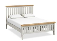 Sicily Kingsize Double 5ft Slatted Bed Two Tone, Soft Grey and Natural Oak Hand painted soft grey finished