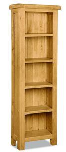 London Oak Slim Bookcase Natural Rustic Oak Hard waxed finished