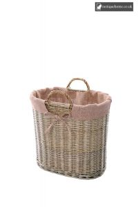 Wicker Small Log Basket With Ear Handles And Natural Lining