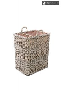 Wicker Small Split Log Basket With Ear Handles And Natural Lining