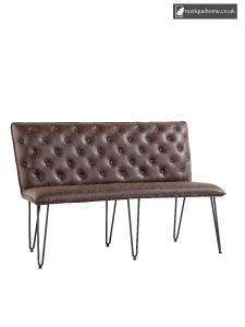 Chair Studded Back Bench 140Cm - Brown