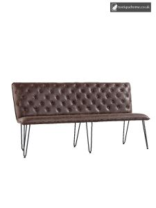 Chair Collection Studded Back Bench 180 Cm With Hairpin Legs - Brown