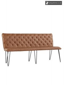 Chair Collection Studded Back Bench 180 Cm With Hairpin Legs - Tan
