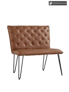 Chair Collection Studded Back Bench 90 Cm - Tan
