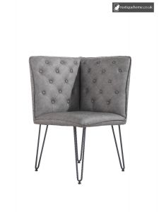 Chair Collection Studded Back Corner Bench - Grey