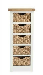 Florence Tallboy With Basket Two Tone, Soft Cream and Natural Oak Soft Cream hand painted finished