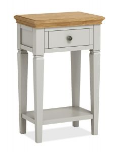 Sicily Telephone Table Two Tone, Soft Grey and Natural Oak Hand painted soft grey finished