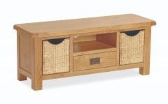 London Oak Large Tv Unit With Baskets Natural Rustic Oak Hard waxed finished
