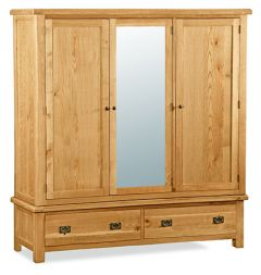 London Oak Extra Large Wardrobe Natural Rustic Oak Hard waxed finished