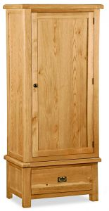 London Oak Single Wardrobe Natural Rustic Oak Hard waxed finished