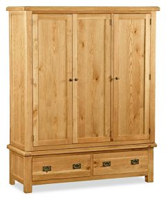 London Oak Triple Wardrobe Natural Rustic Oak Hard waxed finished