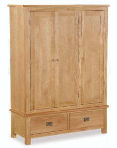 London Oak Lite Triple Wardrobe Natural Rustic Oak Hard waxed finished