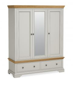 Sicily Triple Wardrobe Two Tone, Soft Grey and Natural Oak Hand painted soft grey finished