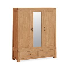 Roma Triple Wardrobe With Mirror Natural Rustic Oak Hard waxed finished