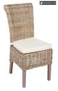 Wicker Chair Including Cushion - Kooboo Grey and Lime washed Oak - Pair
