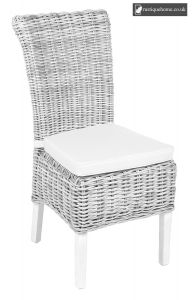 Wicker Chair Including Cushion White Wash - White Wash and Natural - Pair
